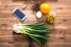 Organic Kitchen with Smartphone Stock Image