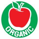 Organic label. Red apple organic sticker, organic symbol, red apple Royalty Free Stock Images