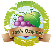 An organic label with fresh grapes Stock Photo