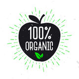100% Organic - label for healthy food. Text inside the apple. Typography design Vector Illustration