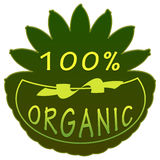 100% organic label. 100 percent organic badge on white background shaped beach drink Stock Photography