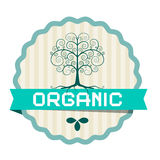 Organic Label with Plant Symbol Royalty Free Stock Photo
