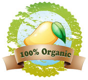 An organic label with a ripe mango Stock Image