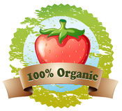 An organic label with a strawberry Royalty Free Stock Images