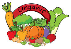 An organic label with vegetables Stock Photography