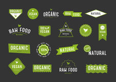 Organic labels set. Collection various logo for eco cosmetics or products. Royalty Free Stock Photo