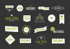 Organic labels set. Collection various logo for eco cosmetics or products. Royalty Free Stock Photography