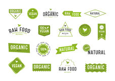 Organic labels set. Collection various logo for organic cosmetics or products. Stock Photo