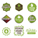 Organic labels. Set of organic food labels, 100% organic products badges, natural / bio food signs, fresh farm icons, fresh food stickers. Stock vector Royalty Free Stock Photos