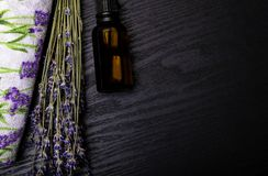 Organic Lavander Products on Wooden table. Ingredients for Natural Spa Treatment royalty free stock photography