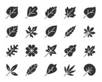 Organic Leaf black silhouette icons vector set vector illustration