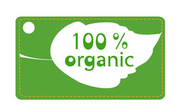Organic leaf label. Green label with leaf marking 100% organic products Stock Images