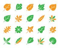 Organic Leaf simple color flat icons vector set royalty free illustration