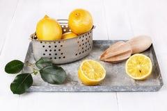 Organic lemon in vintage colander on white wooden background Stock Image