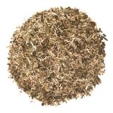 Organic Lemongrass Green tea isolated on white background. Macro closeup. Top view royalty free stock image