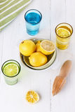 Organic lemons and lemonade over white background Royalty Free Stock Photos