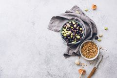 Organic lentils and raw broad beans. Ingredients for cooking. stock images
