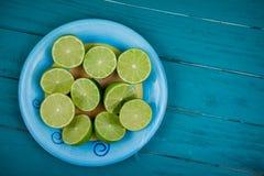 Organic lime  halves  on table Stock Photography