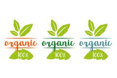 100% organic logo set in different colors with herbal leaves vector illustration