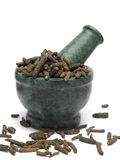 Organic Long pepper  (Piper longum) on marble pestle Royalty Free Stock Image