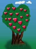 Organic love. Illustration of love tree Stock Illustration
