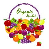 Organic Market colorful vector poster design Royalty Free Stock Photos