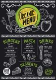 Organic menu restaurant, food template. Organic menu for restaurant and cafe. Design template with food hand-drawn graphic illustrations Stock Photography