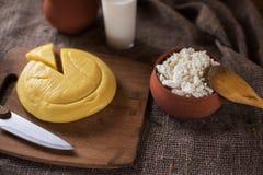 Organic milk cottage cheese and cream Stock Image