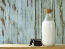 Organic milk in a glass bottle Royalty Free Stock Photo
