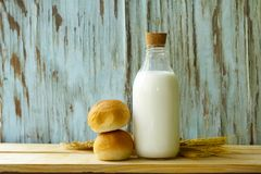 Organic milk in a glass bottle Stock Photos