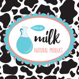 Organic milk sticker with cow spot skin background. Stock Images
