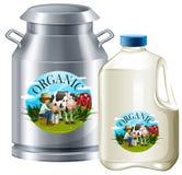 Organic milk in tank and bottle. Illustration Royalty Free Stock Photo