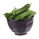 Organic Mini Baby Cucumbers isolated on white background Stock Images