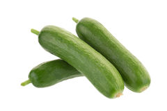 Organic Mini Baby Cucumbers isolated on white background Stock Photography