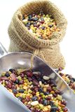 Organic Mixed Beans in Gunny Sack Royalty Free Stock Image