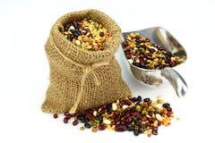 Organic Mixed Beans in Gunny Sack Royalty Free Stock Photos