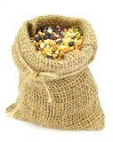 Organic Mixed Beans in Gunny Sack Royalty Free Stock Images