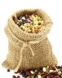 Organic Mixed Beans in Gunny Sack Royalty Free Stock Photo