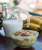 Organic Muesli Represents Granola Healthy And Wholemeal Stock Photos