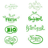 Organic, natural, bio and farm fresh. Label and icon set for org Stock Photography