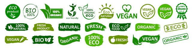 Free Organic Natural Bio Labels Set Icon, Healthy Foods Badges, Fresh Eco Vegetarian Food – Vector Royalty Free Stock Photography - 170603917