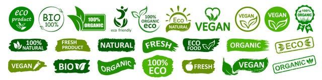 Organic natural bio labels set icon, healthy foods badges, fresh eco vegetarian food – vector