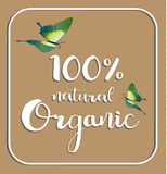 Organic 100% natural card. Poster, logos vector. Hand drawn stickers Royalty Free Stock Photo