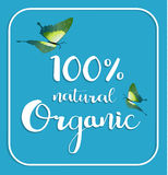 Organic 100% natural card. Poster, logos vector. Hand drawn stickers Royalty Free Stock Photography
