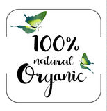 Organic 100% natural card. Poster, logos vector. Hand drawn stickers royalty free illustration