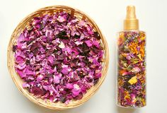 Organic, natural deodorant with flowers Stock Photo