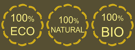 Organic natural and eco food icons Royalty Free Stock Photo