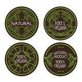 Organic natural and eco icons set with text Natural product. Stock Photography
