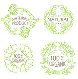 Organic natural and eco icons set with text Natural product. Stock Photos