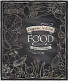 Organic natural food chalkboard. Royalty Free Stock Images